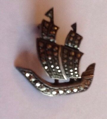 Lovely Marcasite And Sterling Silver Ship Brooch