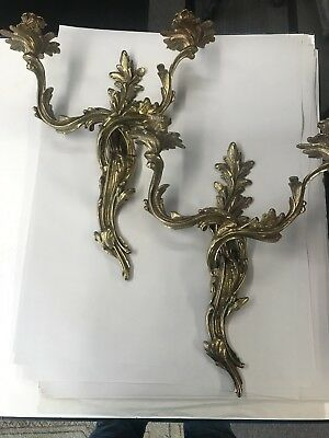 Pair Of Heavy Brass French Louis Xv Candle Wall Sconces
