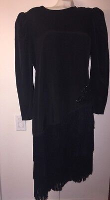 Womens 14 True Vintage Samantha Black Flapper Dress Fringe Costume Theater