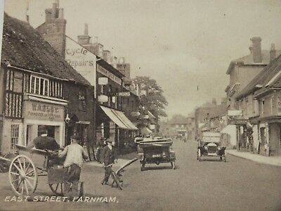 1905 RP A. Clarke Postcard East Street Farnham Surrey - Shops Cinema Cars