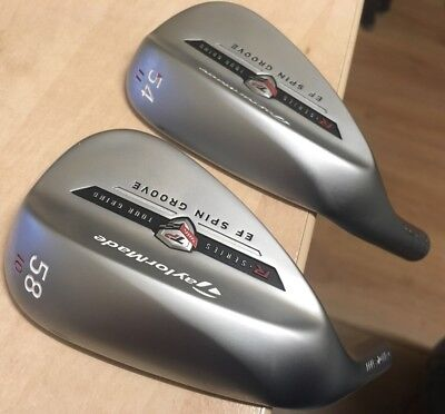 2 x Left Handed Pulled TaylorMade TP EF Spin Groove Wedges 54° & 58°