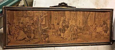 Antique Large Framed Victorian Scene Tapestry Dancing/playing music art picture