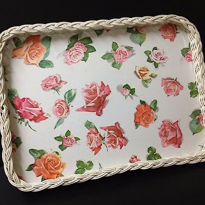 Shabby Chic 50's Vintage - White Wicker & Roses Tray - 50 x 37 cm