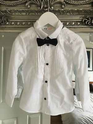 Boy 2-3 years H&M Smart White Shirt With An Adjustable Black Bow Tie
