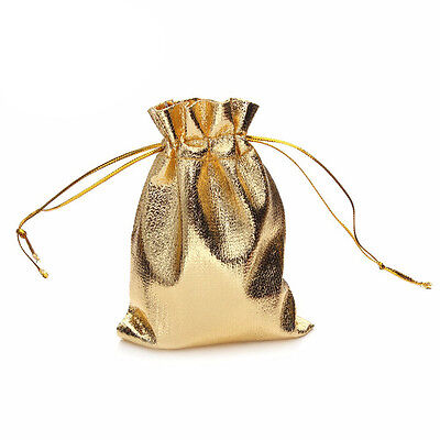 9X12cm 10pcs Gold Glitter Fabric Gift Bags Wedding Party Drawstring Pouch