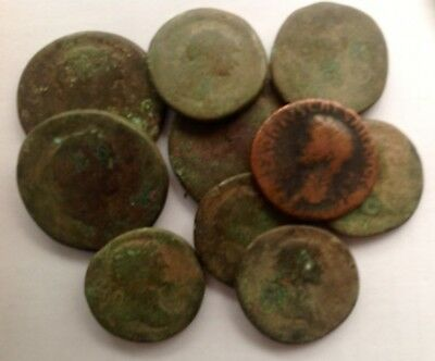 LOT of 10 BRITISH FOUND LARGE ROMAN BRONZE COINS !