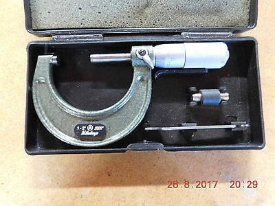 """Mitutoyo 1""""-2"""" .0001"""" Outside Micrometer #101-118 With Case and Accessories Set"""