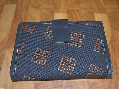 Vintage Givenchy 1970s Caramel Logo Navy Leather Wallet Purse Couture En Cuir