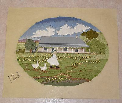 Country House Landscape Garden Girl Geese Tapestry Oval Longstitch Completed