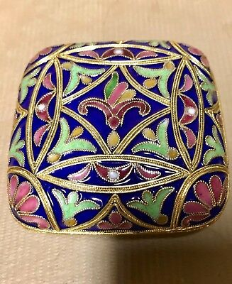 Russian Silver Plated Gilt And Polychrome Cloisonne And Enamel Trinket Box