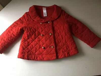 JANIE & Jack ORANGE Red QUILTED Pea COAT Soft WARM 2T Holiday.  FALL.  EUC.