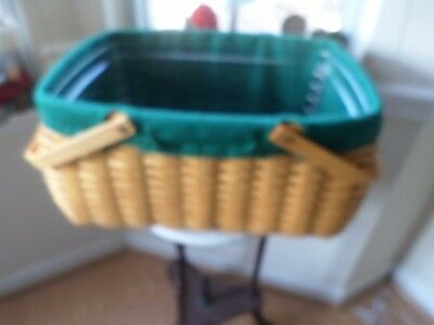 Longaberger Craft Keeper Basket With Green Liner And Protector