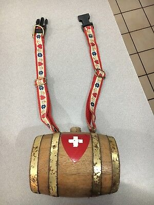 Saint Bernard wood keg. Swiss themed collar