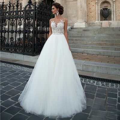 new Sleeveless  Court Train Lace Wedding Dress White Ivory Beach Bridal Gowns