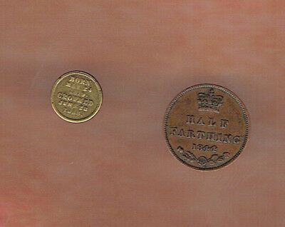 Two Small Victoria Coins,  1844 Half Farthing & Tiny Brass Toy Coin.