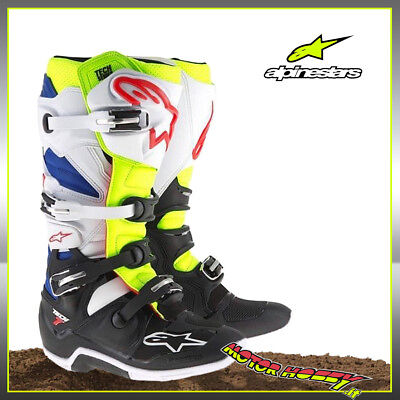 Stivali Cross Enduro Alpinestars Tech 7 2018 Yellow Fluo White Blue Tg. 44.5