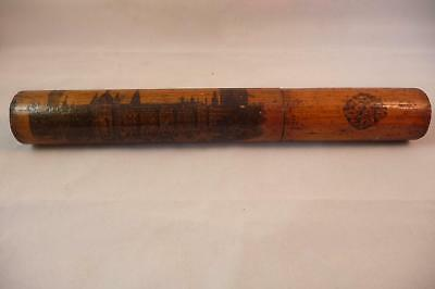 MAUCHLINE WARE DIP PEN or KNITTING NEEDLE CASE NEW HOUSES OF PARLIAMENT c1880