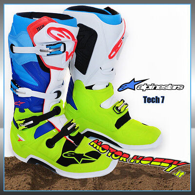 Stivali Cross Enduro Alpinestars Tech 7 2018 Yellow Fluo White Blue Tg. 43