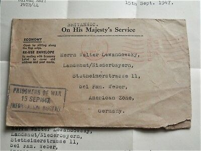 British Cover With Letter *prisoners Of War* England To Germany, American Zone