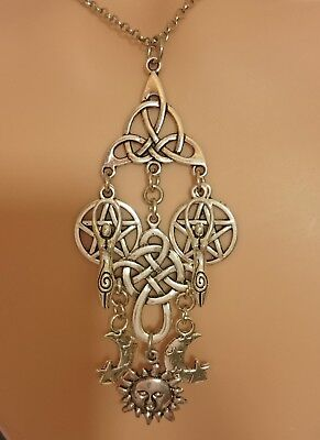 Goddess Pendant Necklace Silver Amulet Moon Celtic Cross Sun Pentacle Triquetra