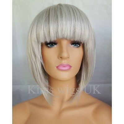 Light Silver Grey Bob Style Short Ladies Womens Wig B38  Uk Seller
