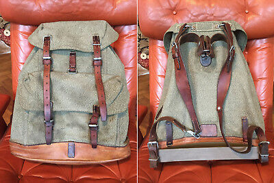 1958 Swiss Army Salt & Pepper Military Backpack Rucksack Canvas Leather Vintage