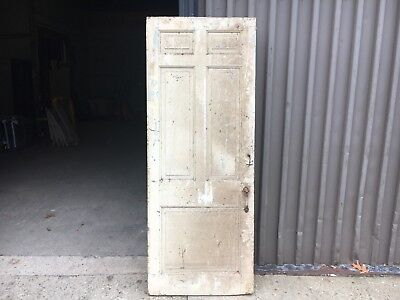 "c1830 Raised panel door old crusty paint 77 x 29.5"" - Five panel old hardware"