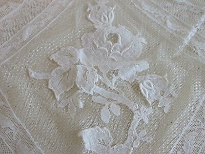 """Wonderful Antique French Tambour Lace Runner 48"""" by 18"""" Floral Rose"""