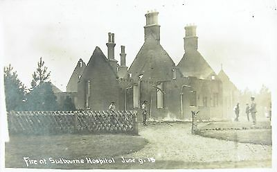 The Fire At Sudbourne Hospital Near Woodbridge Suffolk 1913 Rp Pc