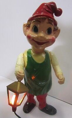Vtg 1960s Union Christmas Xmas Elf Light Up Lantern Blow Mold Hard Plastic