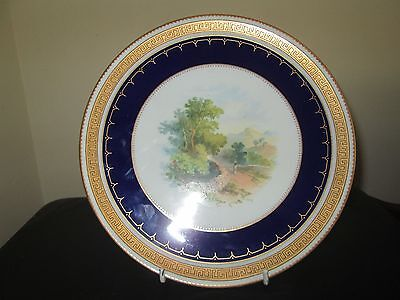 Superb Antique Wedgwood Cabinet Plate Hand Painted 'near Loch Awe' C 1878-91