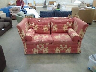 Vintage Drop Arm Sofa Bed Red Fabric