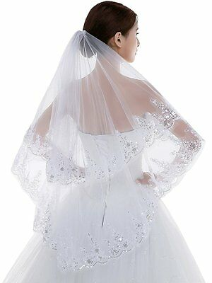 Wedding Bridal Elbow Crystal Rhinestone Veil Ivory Satin Lace 2T 2 Tier