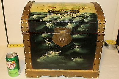 Wooden Hinged Hump Top Chest Box Brass Lockable Latch Hand Painted Top & Front