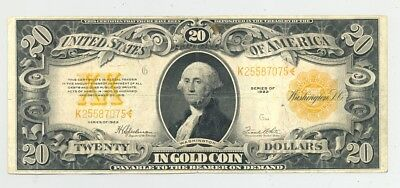 High grade (VF-XF) $20 large size Series 1922 Gold Certificate no reserve