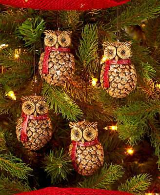 Owl Pine Cone Ornaments Christmas Tree Trimming Holiday Decoration - SET OF 4