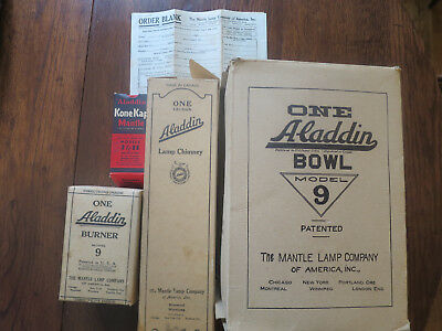 4 Vintage Aladdin Boxes Canada Model 9 Bowl Chimney Burner Mantle