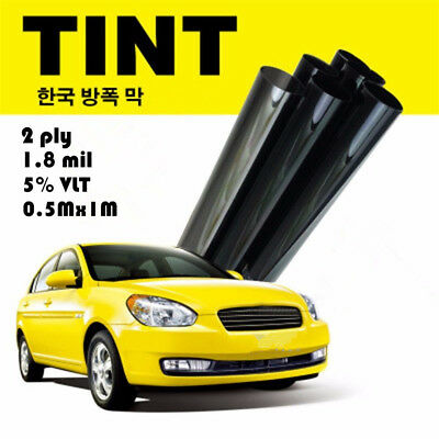 Cool !2PLY Black Glass Window Tint Shade Film VLT 5% Auto Car House 50cm*1M Q