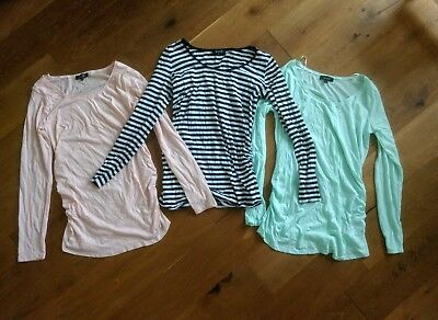 Brand New Size 12 New Look T-shirt Maternity Bundle Three Top Mint Green Stripes