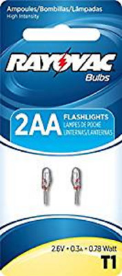 New Rayovac 2 Pack of 2AA Flashlight bulbs T1 T1-2, works with 2AA and 2AAA 2.6V