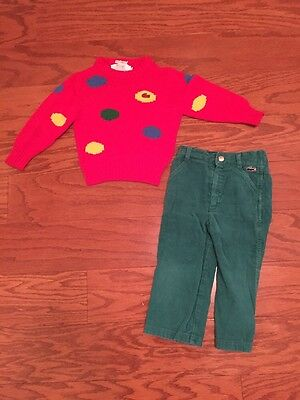 Vintage IZOD Lacoste Infants & Toddlers Sweater And Corduroy Outfit 2T Alligator