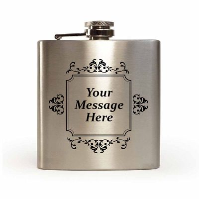Engraved Stainless Steel 6oz Hip Flask-FREE ENGRAVING