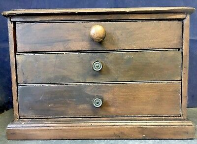 Antique Vintage Wooden Table Top Watchmaker Engineer Cabinet Drawers Box