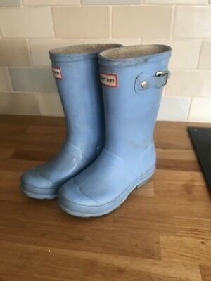 girls Baby Blue hunter wellies size 30/31 Uk 12/13 Good Used Condition