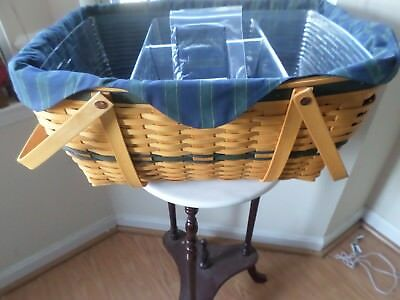 Longaberger  Huge Family Picnic Basket Combo With Double Protector And Liner