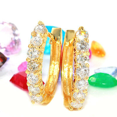 1.30 Carat Natural Diamond 14K Solid Yellow Gold Hoop Earrings