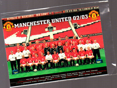 Unused Postcard,  Manchester Utd Team & Staff 2002/2003