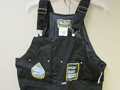 New Walls W93975N Tough Workwear Insulated Overalls Black X-Large 42-44W