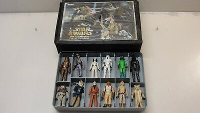1977 Star Wars Carrying Case W/ 12 Figures Darth Vader Chewbacca Ewok Princess