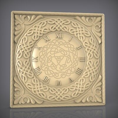 (908) STL Model Clock for CNC Router 3D Printer  Artcam Aspire Bas Relief